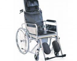 KW-609-GC- Manual Reclining Folding Wheelchair with Commode